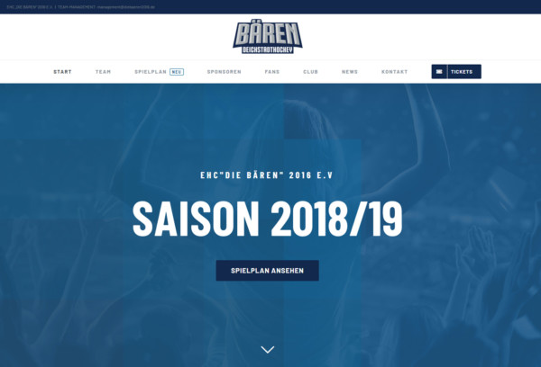 EHC die Bären2016 eVv Offical Website von creon-media werbeagentur